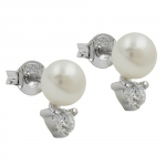 EARRINGS STUDS PEARL ZIRCONIA SILVER 925