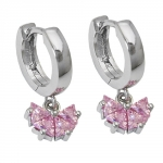HOOP EARRINGS, ZIRCONIA PINK, SILVER 925