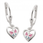 earrings leverback butterfly, silver 925