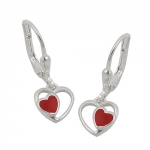 EARRINGS LEVERBACK RED HEART SILVER 925