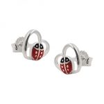 EARRINGS, STUDS, LADYBIRD, SILVER 925
