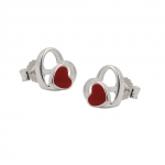 EARRINGS, STUDS, RED HEART, SILVER 925