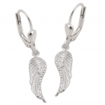 leverback earrings, wings, silver 925