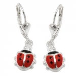 earrings, ladybird, silver 925