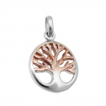 pendant tree of live bicolor, silver 925