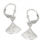 leverback earrings, ginkgo, Silver 925