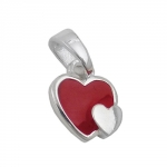 pendant, two hearts red, silver 925