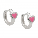 hoop earrings, heart pink, silver 925