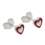 stud earrings, heart red, silver 925