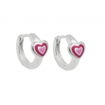 hoop earrings pink-laquered, silver 925