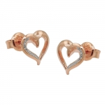 earrings, red-goldplated, silver 925