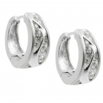 earring hoops, with zirconia, silver 925