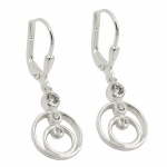 leverback earrings, zirconia, silver 925
