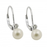 earring leverback with pearl silver 925