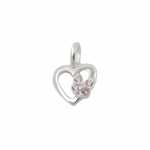 pendant heart with butterfly silver 925