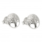 earrings studs, tree of live, silver 925