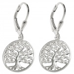 leverback earrings tree silver 925