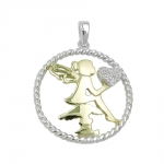 pendant, fairy with heart, silver 925