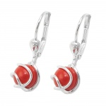leverback earrings bead silver 925