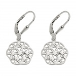earrings, flower of life, silver 925