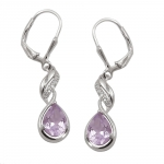 earrings leverback amethyst silver 925