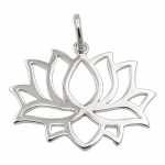 pendant lotus flower rhodium silver 925