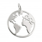 pendant world atlas polished silver 925
