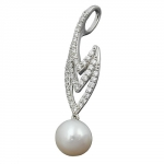 PENDANT, PEARL AND ZIRCONIAS, SILVER 925