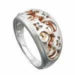 ring, redgold-plated, silver 925