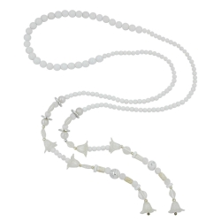 NECKLACE, BLOOM-BEADS, WHITE, 130CM