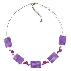 Necklace rectangle beads lilac and white-marbled 45cm