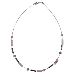 Necklace glass beads lilac and grey