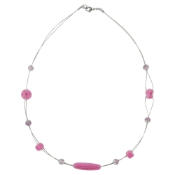 Necklace pink and lilac glass beads on coated flexible wire