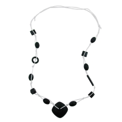 Necklace, Black Beads, White Cord