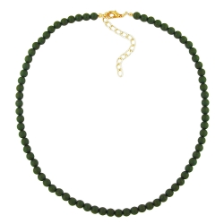 Necklace, Beads, 6mm, Olive/ Dull