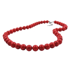 Necklace, dark red marbled beads 12mm, 70cm