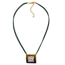 NECKLACE, SQUARE, GREEN-PURPLE, 42CM