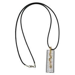 NECKLACE, GRID & SNAKE, SILVER-GOLD, 70CM