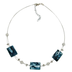 Necklace steel-blue and white beads on coated flexible wire 45cm
