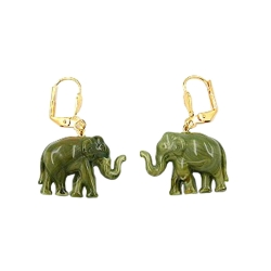 Leverback earrings mini elephant olive
