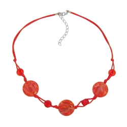 Necklace, Disk Shaped Red Marbled Beads, Red Cord