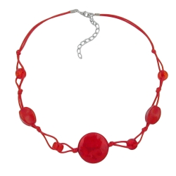 Necklace, Red Marbled Beads, Red Cord