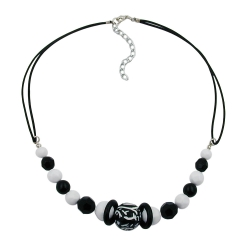 Necklace, Beaded, Black and White