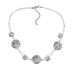 Necklace, White Marbled Beads, Two-Fold Cord