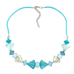 Necklace, turquoise-blue/silver colored, various beads