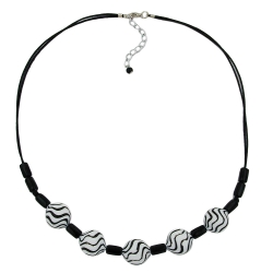 NECKLACE, WAVY BEADS, BLACK-WHITE, 50CM