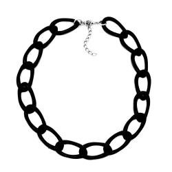Necklace, Wide Anchor Chain, Black Glossy