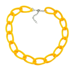 Necklace, wide curb chain, yellow-matt