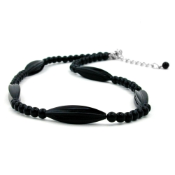 Necklace, Black Beads, 42cm