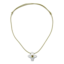 Necklace, Silver-Coloured Cross with Rhinestone